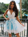 A-Line Spaghetti Straps Above-Knee White Homecoming Dress with Appliques   S1715