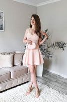 Cute A Line Spaghetti Straps Pink Short Homecoming Dresses with Ruffles  S1721