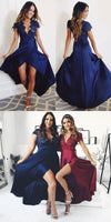 cap sleeves navy blue long prom dress  S1723