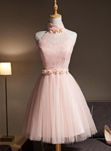 Light Pink Halter Tulle and Lace Lovely Knee Length Homecoming Dress S1725