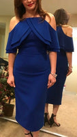 Off the Shoulder Cocktail Dress Royal Blue  Formal Gown, Tea Length Homecoming Dress  S1726