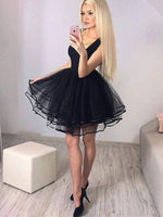 Cute Black tulle Short Graduation Dress, Mini Homecoming Dress   S1727
