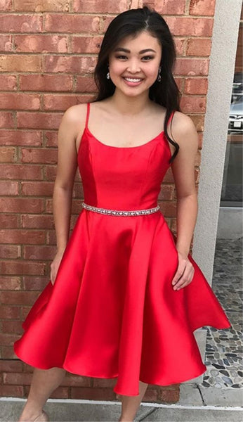 A-Line Spaghetti Straps Knee-Length Red Homecoming Dress with Beading Pockets   S1728