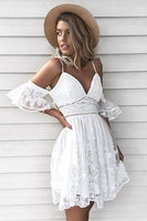 A-Line Spaghetti Straps Short Sleeves White Short Lace Homecoming Dress S1733