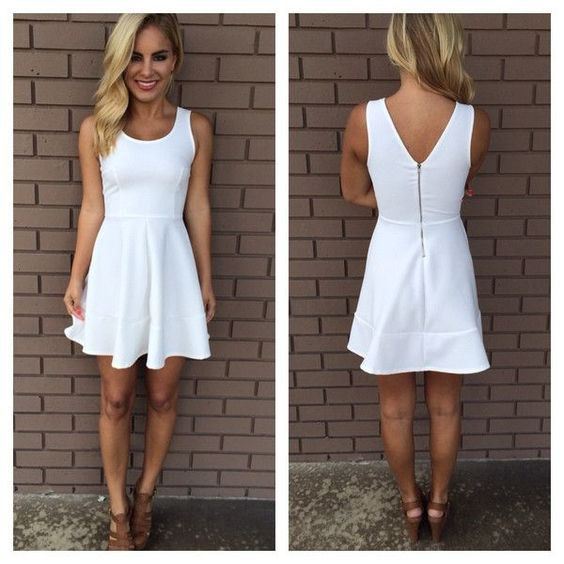 White A Line Short Homecoming Dress  S1737