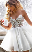 A Line Spaghetti traps White Homecoming Dress With Appliques  S1738