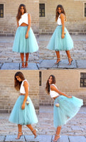 Two Piece V-Neck Mid-Calf Blue Tulle Homecoming Dress S173
