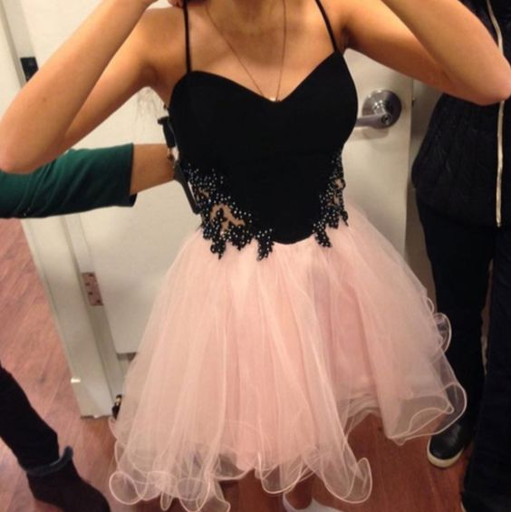 Beautiful Sweetheart Neck Straps Short Homecoming Dresses, Sweet 16 Dresses   S1746