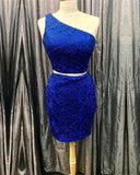 Elegant One Shoulder Homecoming Dresses Two Piece  Short Dress S1749