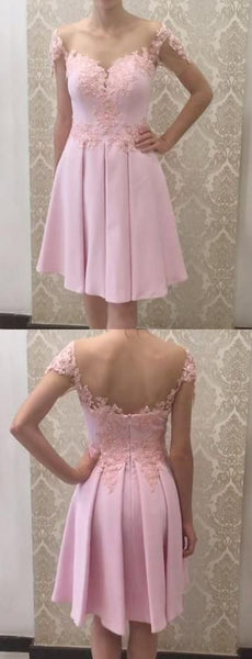 Glamorous A Line Off the Shoulder Pink Short Homecoming Dress with Appliques S1755