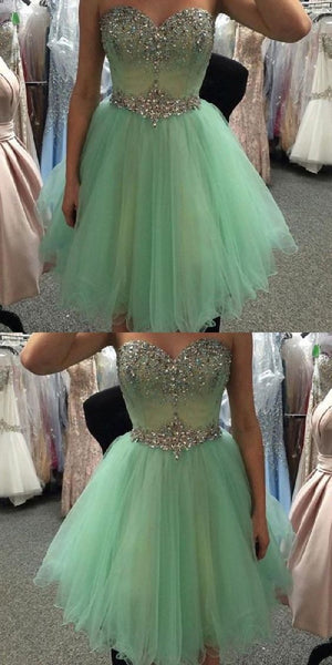 Sweetheart Neck Strapless Beaded Mint A-line Homecoming Dresses S1757
