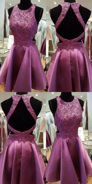 Short Homecoming Dress, Homecoming Dress Purple, Lace Homecoming Dress S1758