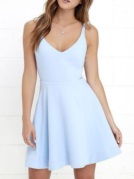 V Neck Light Blue Cheap  Homecoming Dresses  S1776
