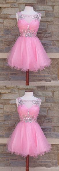 Cute A line homecoming dresses blush pink with beaded neck S1782