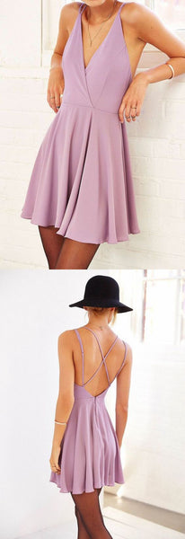 Simple A Line V Neck Open Back  Purple Casual Short Homecoming Dresses S1786