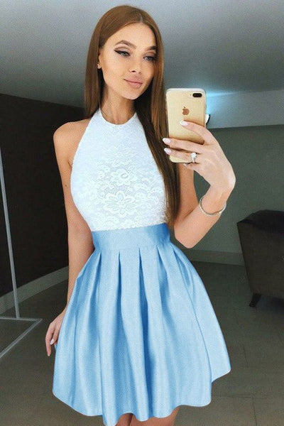 A-Line Halter Backless Short Blue Pleated Homecoming Dress with Lace Bodice S1789