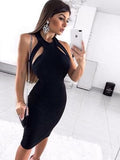 Sexy Black Jersey Halter Sheath Tight Evening Party Homecoming Dresses S1792