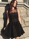 A-Line Round Neck Sleeveless Short Homecoming Dresses With Appliques S1794