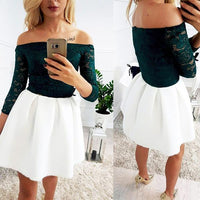 Dark Green Lace Top Ivory Satin Off Shoulder Simple Homecoming Dresses  S1798
