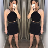 Two Piece Spaghetti Strap Beaded Sheath Black Homecoming Dresses  S1799