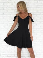 Simple A-Line Spaghetti Straps Black Short Homecoming Dresses S1801