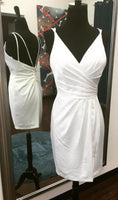 Short White Homecoming Dress with Lace S1802
