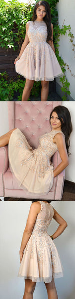A-Line Jewel Beading Sleeveless Light Champagne Homecoming Dress  S1805