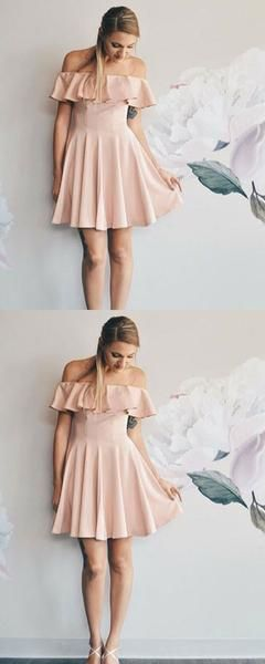 A-Line Off Shoulder Cheap Short Homecoming Dresses With Ruffles  S1811