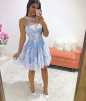 Halter Neck  Homecoming Dresses Lace Appliques S1820