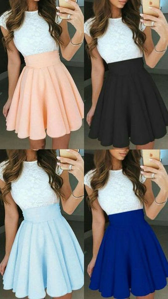 Cute Two Pieces Lace Top Cap Sleeves Short Homecoming Dresses   S1828