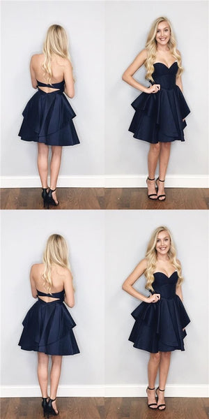 Sweetheart Navy Satin Homecoming Dresses  S1832