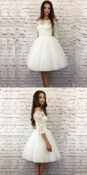 White A-Line 3/4 Sleeves Short Homecoming Dress With Lace    S1834