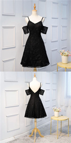 A-line Spaghetti Straps V-Neck Short sleeves Black Lace Sequins Homecoming Dresses  S1836