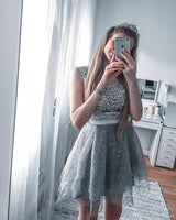 Tulle Grey A Line Beaded Party Dress, Short Homecoming Dress  S1845