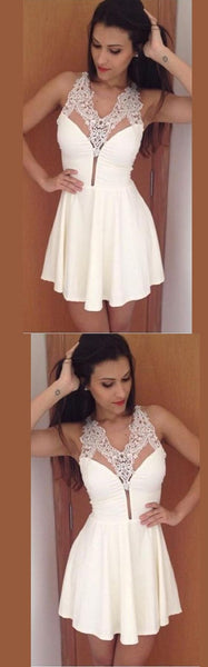 Simple Sexy White Lace Appliques Deep V-neck Mini Homecoming Dresses S185