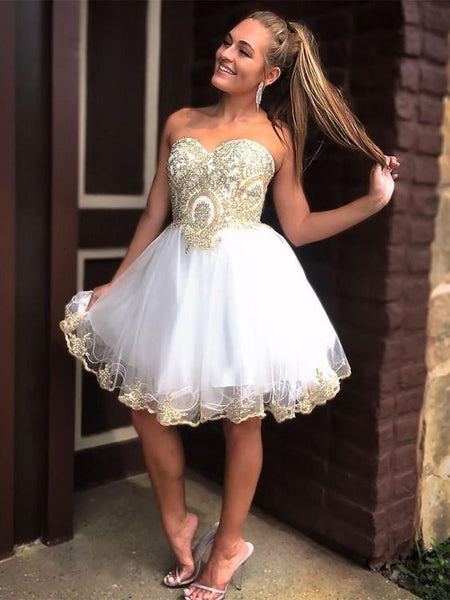 Tulle with Gold Lace Appliqued Sweetheart Neck Homecoming Dresses S1865
