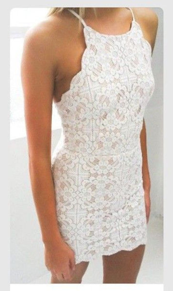 Short white dress lace dress style tight classy homecoming dress   S1876