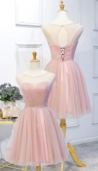 Pink Tulle Homecoming Dress With Beading Sash, A Line Sleeveless Prom Dress With Beads S187