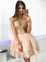 A-Line Crew Above-Knee Champagne Tiered Homecoming Dress with Lace S1882