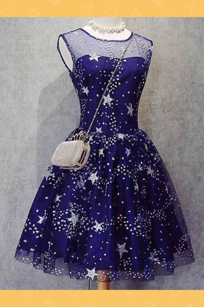 Short Homecoming Dress, Homecoming Dress Blue, Homecoming Dress For Cheap, Unique Homecoming Dress S1885