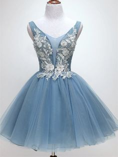 Blue Short Lace Tulle Homecoming Dresses, Lovely Short Homecoming  Dress S1892