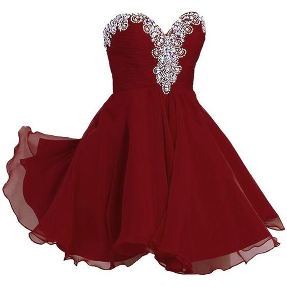 Burgundy Homecoming Dress,Beading Homecoming Gowns S1893