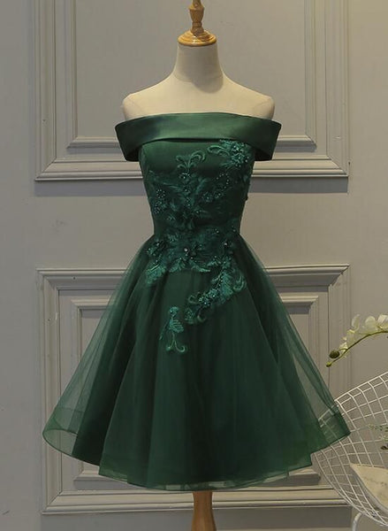 Green Tulle and Satin Lovely Short Homecoming  Dress, Off Shoulder Party Dress  S1894