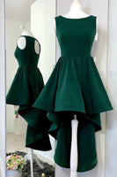 Dark Green Hi-lo Homecoming  Dresses with Keyhole    S1896