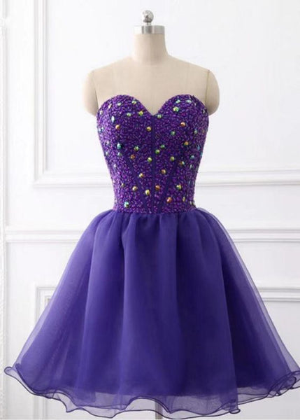 Sweetheart Organza Knee Length Beaded Formal Dress, Purple  Homecoming Dresses S1904