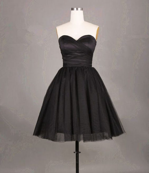 Cute Black Short Tulle  Short Homecoming Dresses S1907