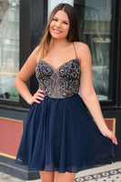 Straps Short Homecoming Dresses, Navy Blue Homecoming Dresses S1922