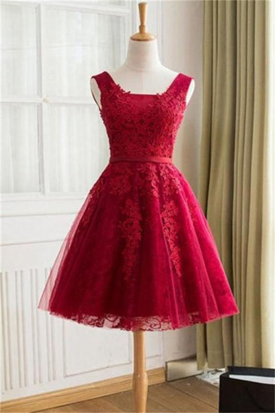 Beautiful Short A-line Red Lace Open Back Homecoming Dresses For Teens    S1933