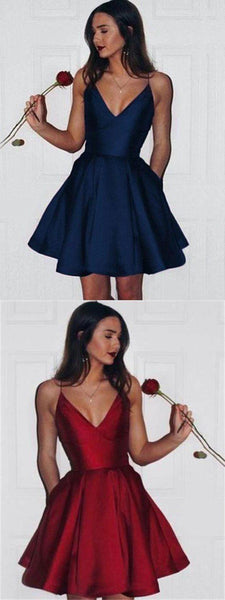 Simple Spaghetti Red?Royal Blue Satin Short Prom Dresses, Homecoming Dresses, V-neck Prom Dresses S194
