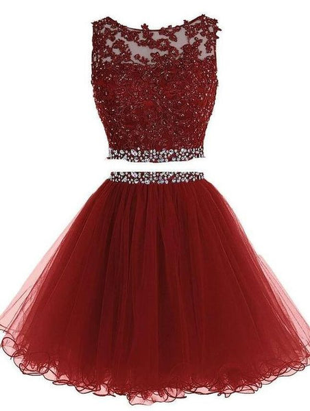Burgundy Two Piece Short Beading Homecoming Dress  S1955